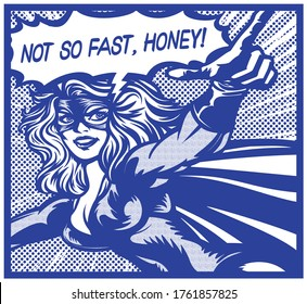 Pop art vintage comic book style super heroine with pointing finger and speech bubble female superhero monochrome vector illustration on white background