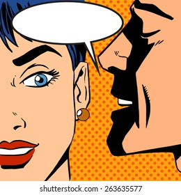 Pop art vintage comic. The man whispers to the girl. Cloud for the text. Gossip and rumors talk about love. Retro style