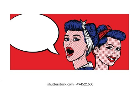 Pop Art Vintage Comic. Two Girls Talking. Retro Style. Bubble for Text.