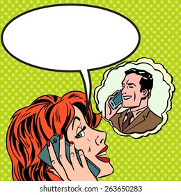 Pop art vintage comic. The woman speaks to the man on the phone. Retro style. Bubble for text. Technology and relationships