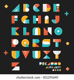 "Pop art vintage style designed ""Picasso space"" vector alphabet set. Three dimensional version."