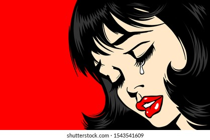 Pop Art Woman сlose-up. beautiful girl in pop art style crying. tear on the lady's face. The lush red lips of a sexy brunette. Vector. Illustration on red background. Women Health. Menstruation.