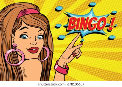 pop art woman bingo. retro vector illustration