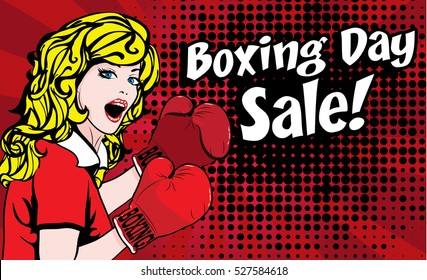Pop Art Woman Boxing day shopping creative sale idea. vector illustration.