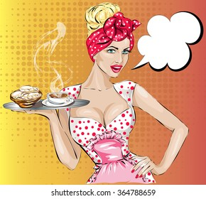 Pop Art woman with breakfast. Pin-up girl speech bubble.  Fashion, sexy wife, hand drawn vector illustration Background