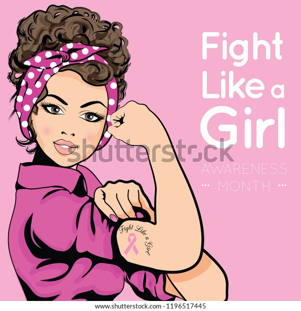 Pop Art Woman Breast Cancer Awareness Stock Vector Royalty Free