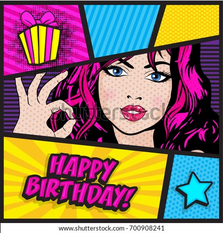 Pop Art Woman Card Happy Birthday Sign Vector Illustration