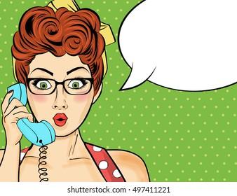 Pop art  woman chatting on retro phone  . Comic woman with speech bubble. Vector illustration.