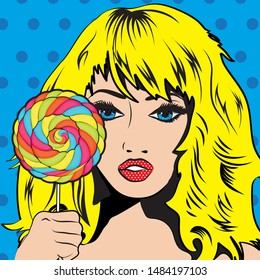 Pop Art Woman with colorful Lollipop! vector illustration.