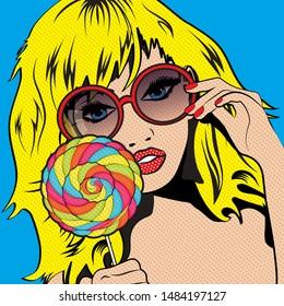 Pop Art Woman with colorful Lollipop! vector illustration.