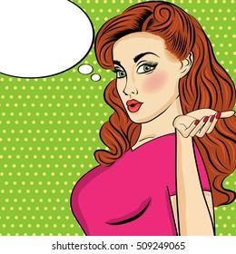 Pop art  woman . Comic woman with speech bubble. Pin up girl. Vector illustration.