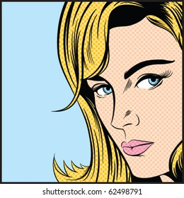 Pop Art Woman - Contains separate solid color and dot layers