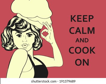 pop art woman cook, illustration in vector format