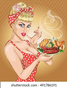 Pop Art woman with food plate. Pin-up girl, BBQ, sausage. Fashion, sexy wife, vector illustration Background