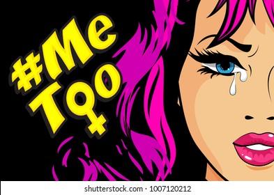 Pop Art Woman Hashtag Metoo illustration trending social-media movement against sexual harassment. Vector Illustration. VIOLENCE AGAINST WOMEN!