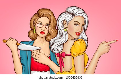 Pop art woman with knife, girl pointing with index finger. Girlfriends planning murder or revenge. Pretty lady trying sharpness of kitchen knife blade in hands. Retro comic book vector illustration