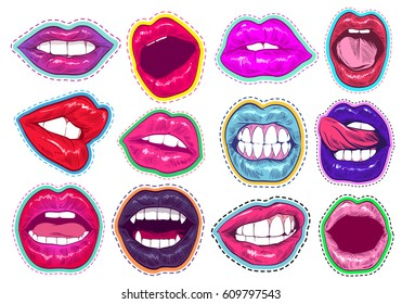 Pop art woman lips set. Sexy mouth. Fashion design, comic book style. Hand drawn vector illustration.