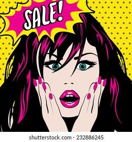 Pop Art Woman SALE sign. vector illustration