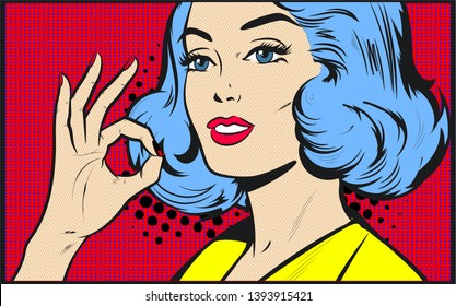 Pop Art woman is showing OK hand sign. Party invitation. Birthday greeting card.Hollywood movie star.Vintage advertising poster. Comic Book vector Illustration