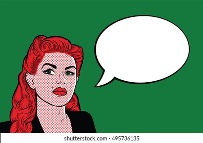 Pop Art Woman with Speech Bubble for your text. Green Background. Red Hair. Retro comic girl. Vector Illustrations.