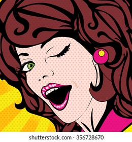 Pop Art Woman winks. vector illustration. Happy smiling winking young woman.