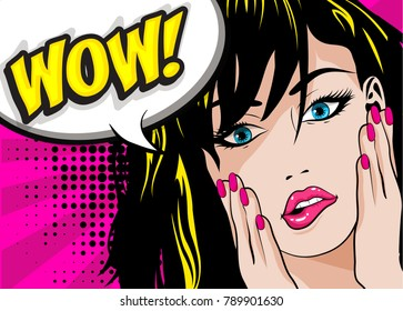 Pop Art Woman WOW sign. vector illustration