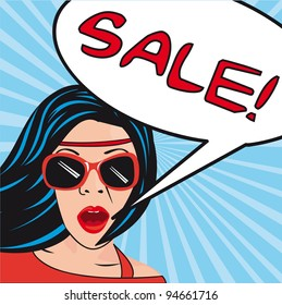 pop art women  with thought bubbles sale. vector illustration