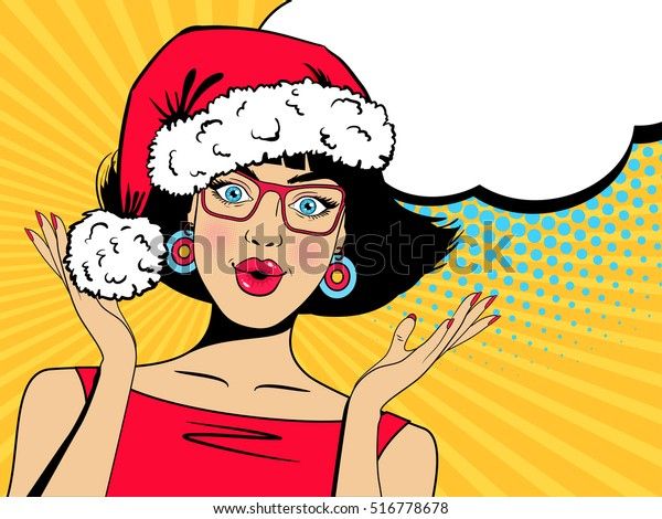 Wow Christmas.Pop Art Wow Christmas Face Sexy Stock Vector Royalty Free