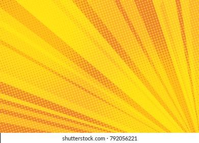 Pop art yellow background light retro vector illustration