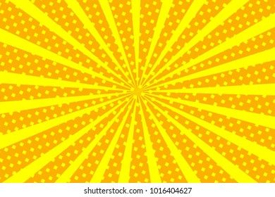 Pop art yellow background, retro comic rays and dots illustration