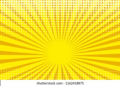 Pop art yellow background, retro comic rays illustration