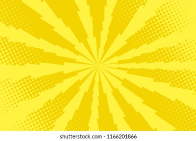 Pop art yellow background, retro comic rays and lightning illustration