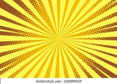 Pop art yellow background, retro comic rays illustration