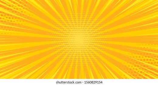 Pop art yellow comics book cartoon magazine cover. Cartoon funny retro pattern strip mock up. Vector halftone illustration. Vintage backdrop for comic superhero text, speech bubble, message.