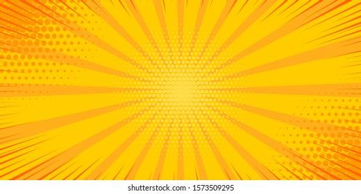 Pop art yellow comics book cartoon magazine cover. Cartoon funny retro pattern strip mock up. Vector halftone illustration. Vintage backdrop for comic superhero text, speech bubble, message. - Shutterstock ID 1573509295