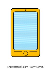 Pop art yellow smart phone with dot screen for your offer on white background. Vector colorful hand drawn illustration in retro comic style.