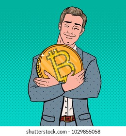 Pop Art Young Businessman Holding Big Bitcoin Coin. Crypto Currency Decentralized Technology. Vector illustration
