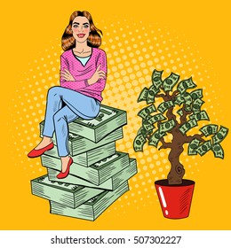 Pop Art Young Rich Woman Sitting on a Stack of Dollars near Money Tree. Vector illustration