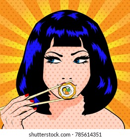 Pop Art Young woman Eating Sushi. vector illustration.