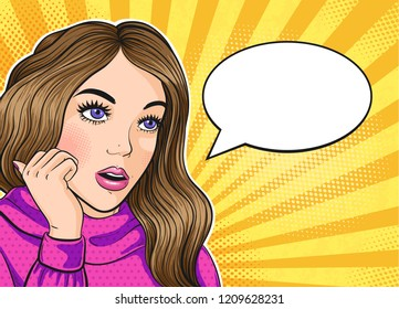 Pop art young woman thinking with speech bubble for text, vector illustration in pop art retro style.