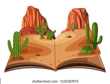 A pop up book desert scene illustration