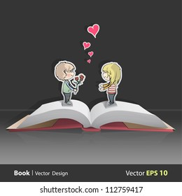 Pop Up Book with kid giving a flower. Vector background design.