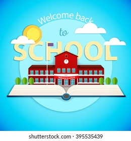 Pop up book with school building in applique style - vector stock illustration