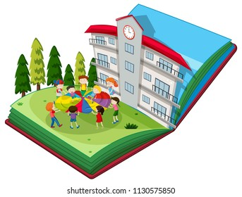 Pop up book of students playing at playground illustration