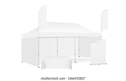 Pop up canopy tent with two flags, demonstration table and roll-up banners. Equipment for business or organization stands during the outdoor events. Vector illustration