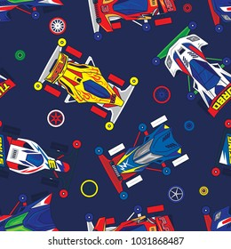 Pop and Colorful Classic Mini 4WD Toys Car Vector Seamless Pattern