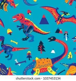 Pop and Colorful Cute Dinosaurs Vector Seamless Pattern. Background Wallpaper