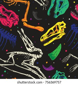 Pop and Colorful Dinosaurs Fossil Seamless Pattern. Vector Wallpaper