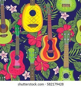 Pop Colorful Hawaiian Fruity Ukulele and Flower Seamless Pattern