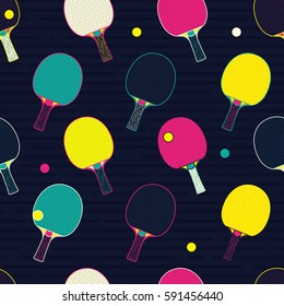 Pop and Colorful Ping Pong / Table Tennis bat and ball Seamless Pattern. Background Wallpaper